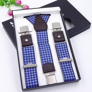 Image 2 - 63 Colors Mens Suspenders  3/6 Clips Braces Leather Suspensor Adjustable Belt Strap Bretelles Vintage Mens Suspender For Skirt