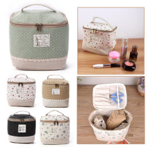 Multifunction Travel Linen Cosmetic Makeup Bag Toiletry Storage Organizer Case