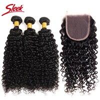 SLEEK Mongolian Kinky Curly Human Hair Bundles With Closure 4*4 Closure Free/Middle/Three 3 Part 100% Virgin Hair Extension