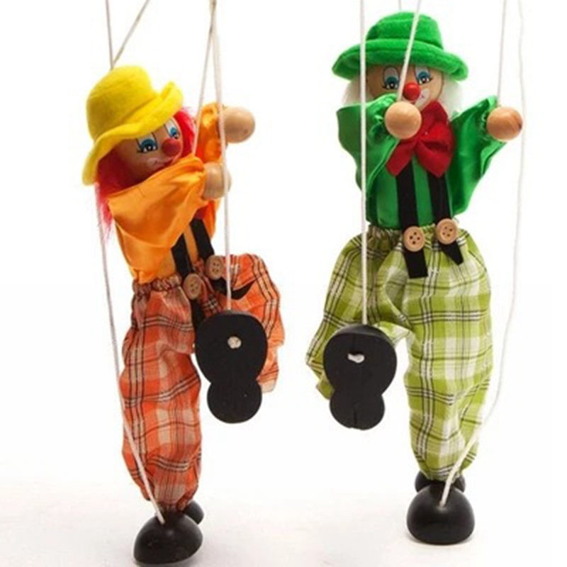 Funny Vintage Colorful Pull String Puppet Clown Wooden Marionette Handcraft Toys Joint Activity Doll Kids Children Gifts