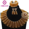 Brown Chunky Bib Crystal African Beads Women Jewelry Sets Indian Bridal Costume Jewellery Sets QW1120