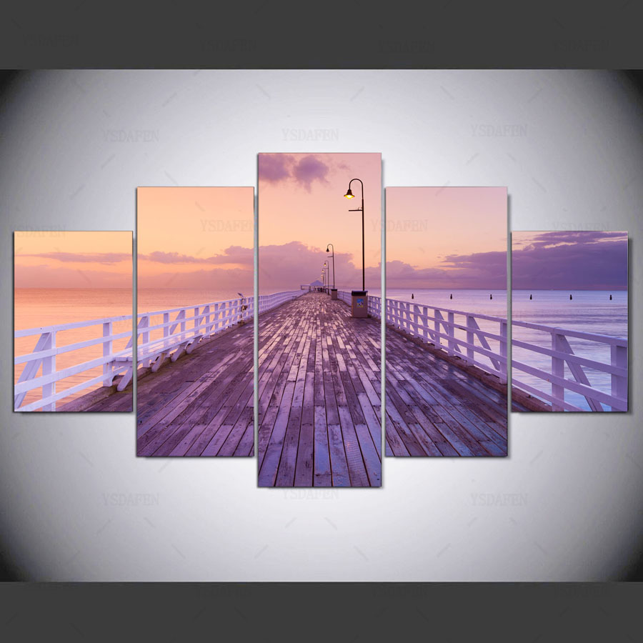 5 stuk холсте Pier natuur холст schilderen розовый небо плакаты домашнего декора фото voor woonkamer безвозмездно ny-1109