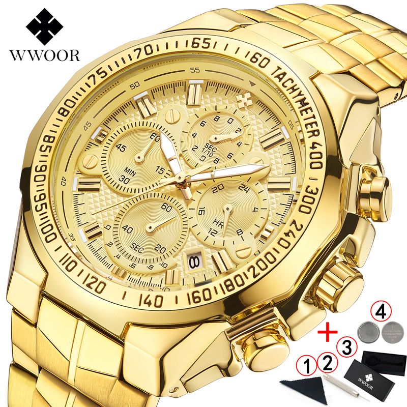 WWOOR Wrist Watches Golden-Chronograph Top-Brand Luxury Big Masculino Male Men Man Relogio