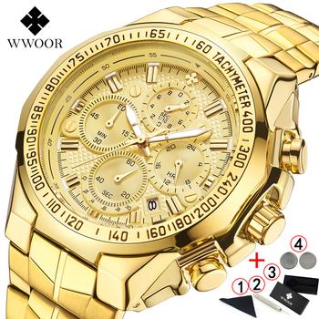 Relogio Masculino zegarki mężczyźni 2019 Top marka luksusowe WWOOR złoty chronograf mężczyźni zegarki złoty duży męski zegarek człowiek 2019 tanie i dobre opinie 230cm Luxury ru QUARTZ 5Bar Klamra Stop 16mm Hardlex Kwarcowe Zegarki Na Rękę Skóra STAINLESS STEEL 45mm Watches Men 2019 wwoor 8868