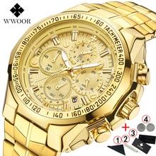 Часы наручные WWOOR мужские с хронографом, брендовые Роскошные с большим циферблатом, золотистые, 2019, 2019