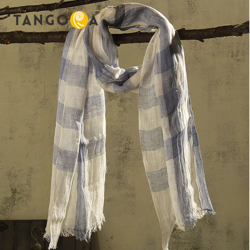 190x50cm 100%Linen Plaid Echarpe Luxury Women Scarves 2017 Summer Woman Designer Scarf Ponchos And Capes Beach Towel 508SS