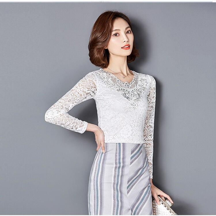 Yeni Payız Qadın bluzları Bərk rəngli uzun qollu Diamonds - Qadın geyimi - Fotoqrafiya 3