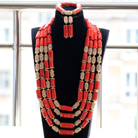 Extra Long All Gold Bling 4 Layers Original Traditional African Coral Beads Necklace Jewelry Set Free Shipping CNR841