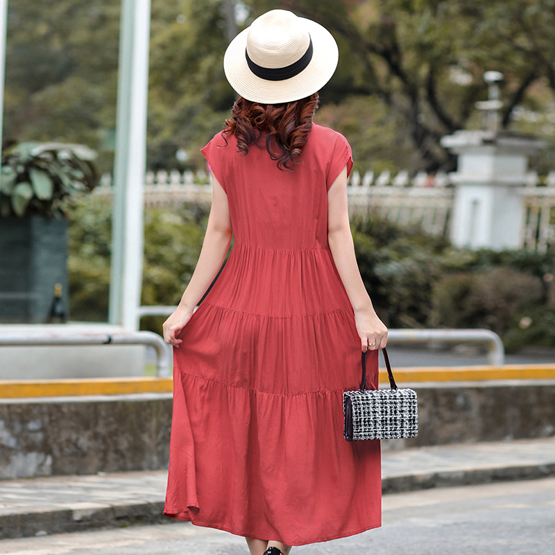 B Plus size S 4XL summer women cotton silk dress women plant flower embroidered cotton dress woman casual loose beach dress in Dresses from Women 39 s Clothing