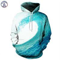 Mr 1991INC Hot Sell Sea Waves Sweatshirt Men Women 3d Hoodies Print Blue Waves Hooded Hoody