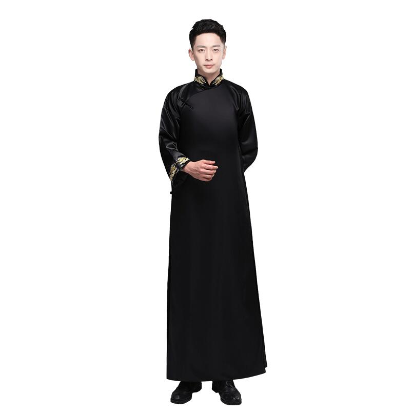 New design traditional Chinese Clothing Men Cheongsam embroidered gown male Hanfu Tang suit Costume Republic of China Gown Dress gown
