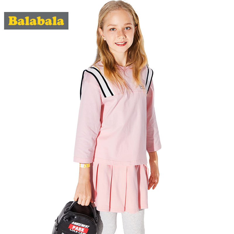 Balabala girls clothing sets kids clothes 2018 spring child costume children Long Sleeve clothes preppy style fashion suit