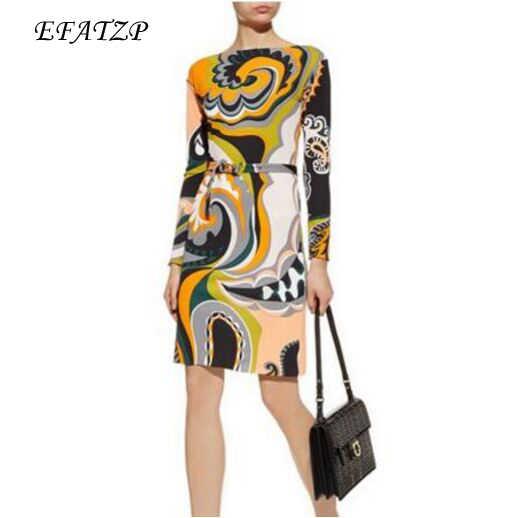 New 2018 Fashion Designer Brand Xl Xxl Dress Women S 3 4 Sleeves Geometry Printed Stretch Jersey Silk Dress Silk Dress Designer Dress Womendress Fashion Women Aliexpress