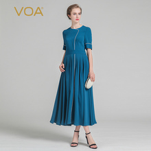 VOA Summer Cyan Heavy Silk Women Slim Dress 2017 Fashion Plus Size O-neck Short Sleeve High Waist Vintage Queen Dress ALX03901
