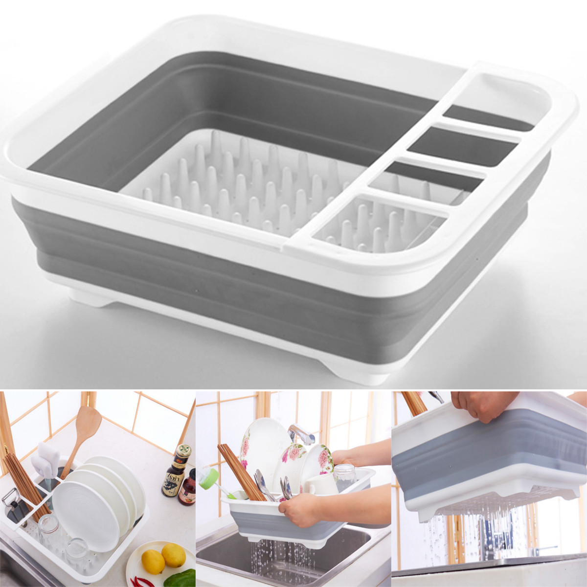 Kitchen Foldable Plates Dish Cup Storage Rack Utensil Cutlery Draining Holder Tableware Drying Rack Organizer Storage