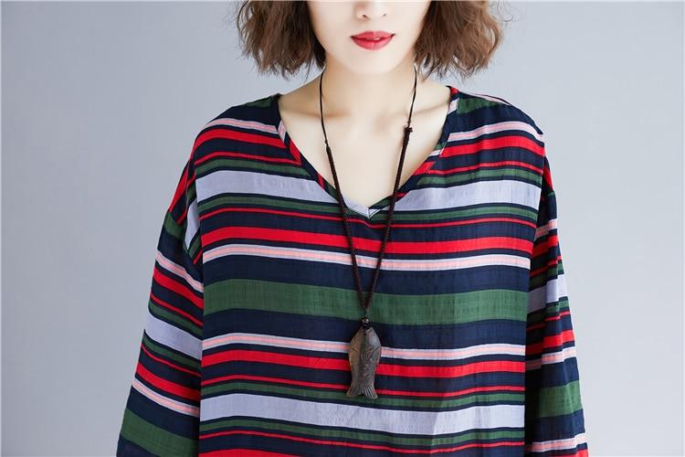 Doornot Oversized Striped Woman Tops & Tees V neck Long sleeve Ladies Tshirts Fashion Loose Drawstring Linen Women T-shirt 24