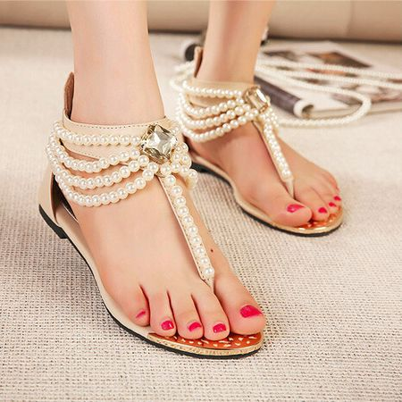 a26487d39 Fashion Casual Cute New beige Black Bohemia Beaded Diamond Gladiator Sandals  Women Flip Flops Flat Sandals Ladies Shoes