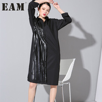 Autumn Outfit Tassel Version Loose Big Long Shirt Dress Tide Squares Loose Blosues For Woman