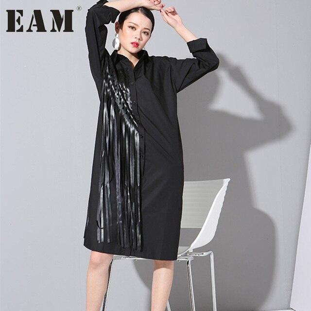 [EAM] Новинка 2017 Весна кисточкой большой длинный рукав Большие размеры Хлопок Черная рубашка прилив квадратов свободные блузки женские модные 1C0261