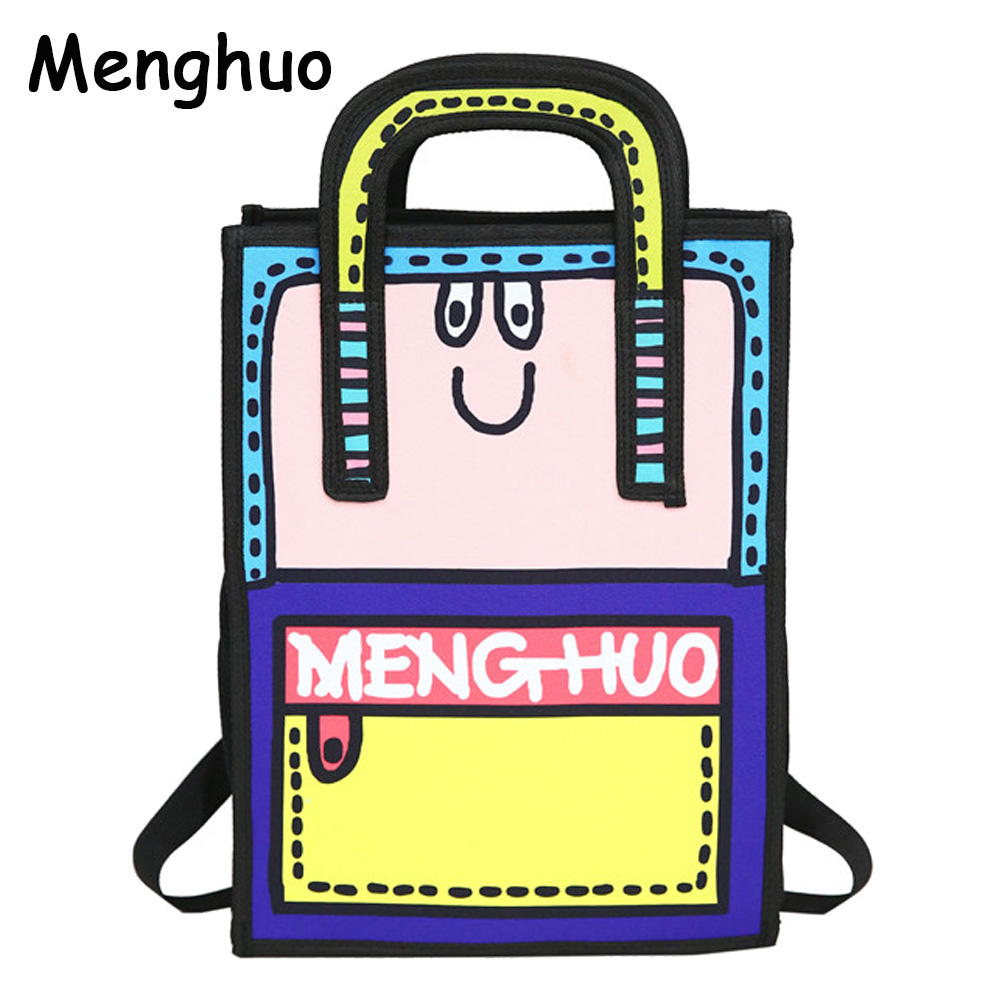 Menghuo Brand New 3D Anime Bag Cartoon Women Backpack School Bag 3D Style Canvas 2D Travel Drawing Book Mochilas for Teenagers