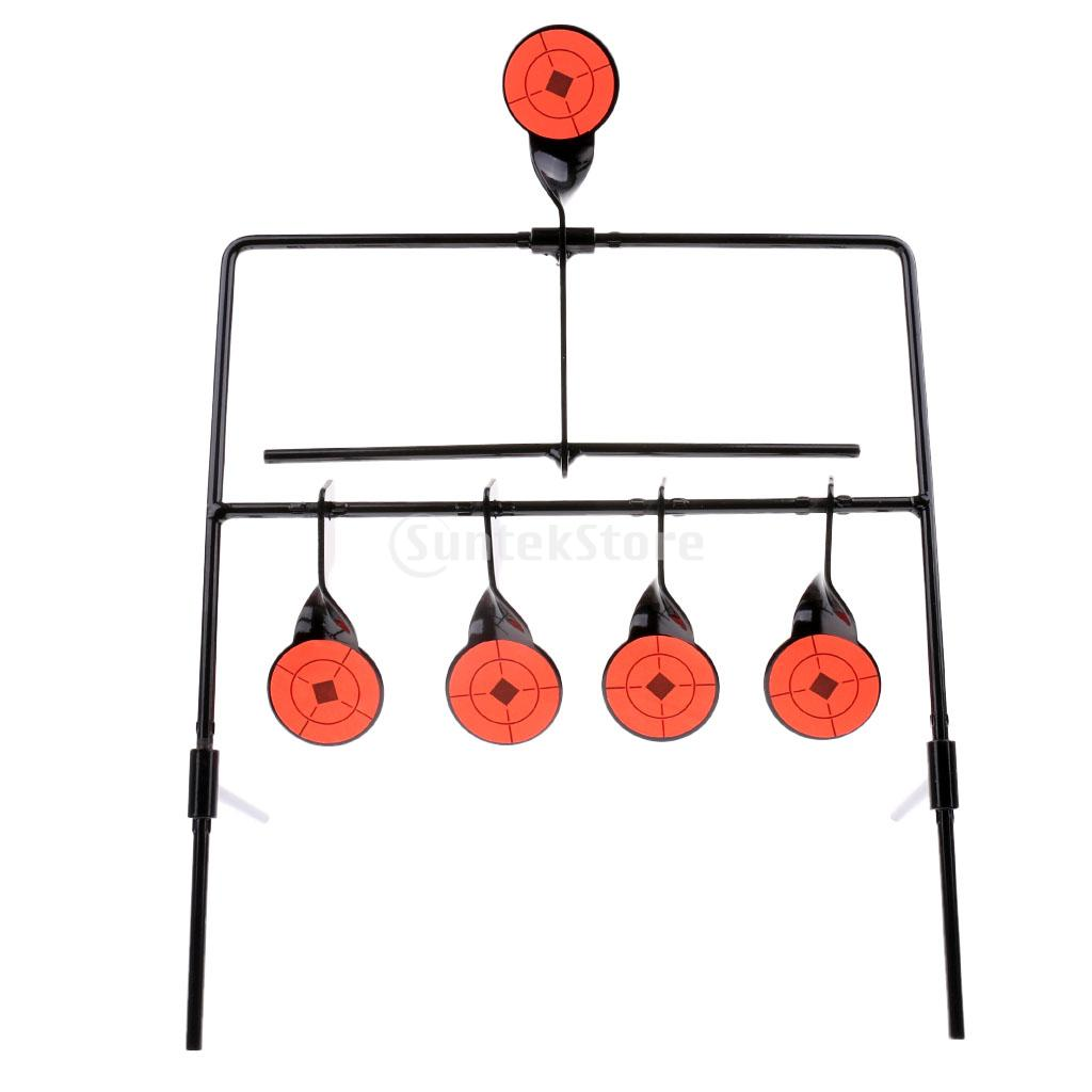 5 Targets Self Resetting Spinning Shooting Target Training Practice Metal Target Stand Set with 10 Stickers
