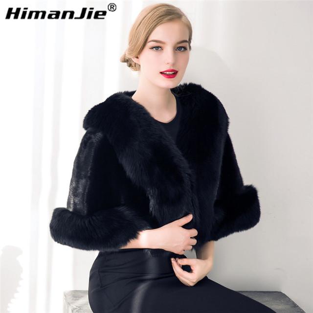 HimanJie lujo de las mujeres elegantes grandes faux mantón de la piel del faux gruesa imitado piel de zorro bufanda de la piel del cabo del invierno de las mujeres de piel caliente pashmina
