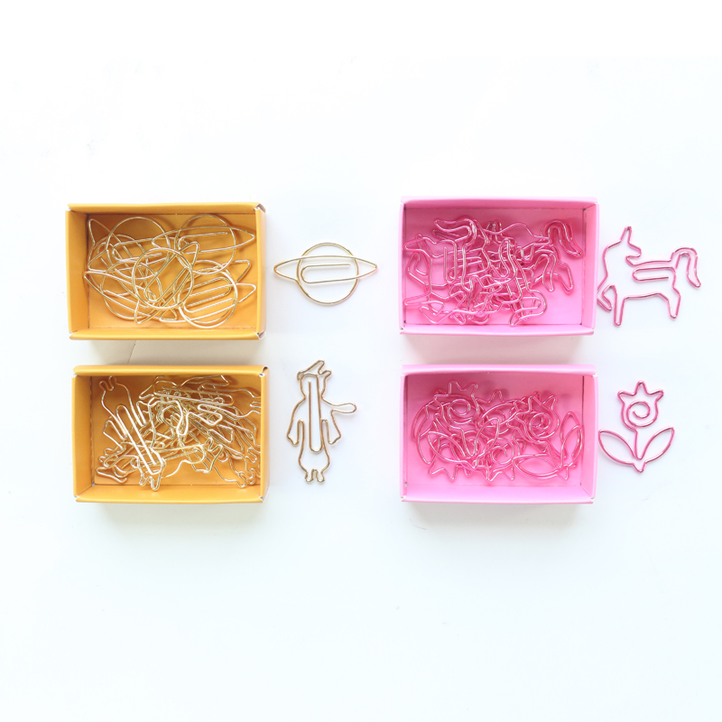 Domikee Creative Cute Gold Pink Office School Metal Index Paper Clips Kawaii Student Paper Organizer Bookmark Stationery 8pcs