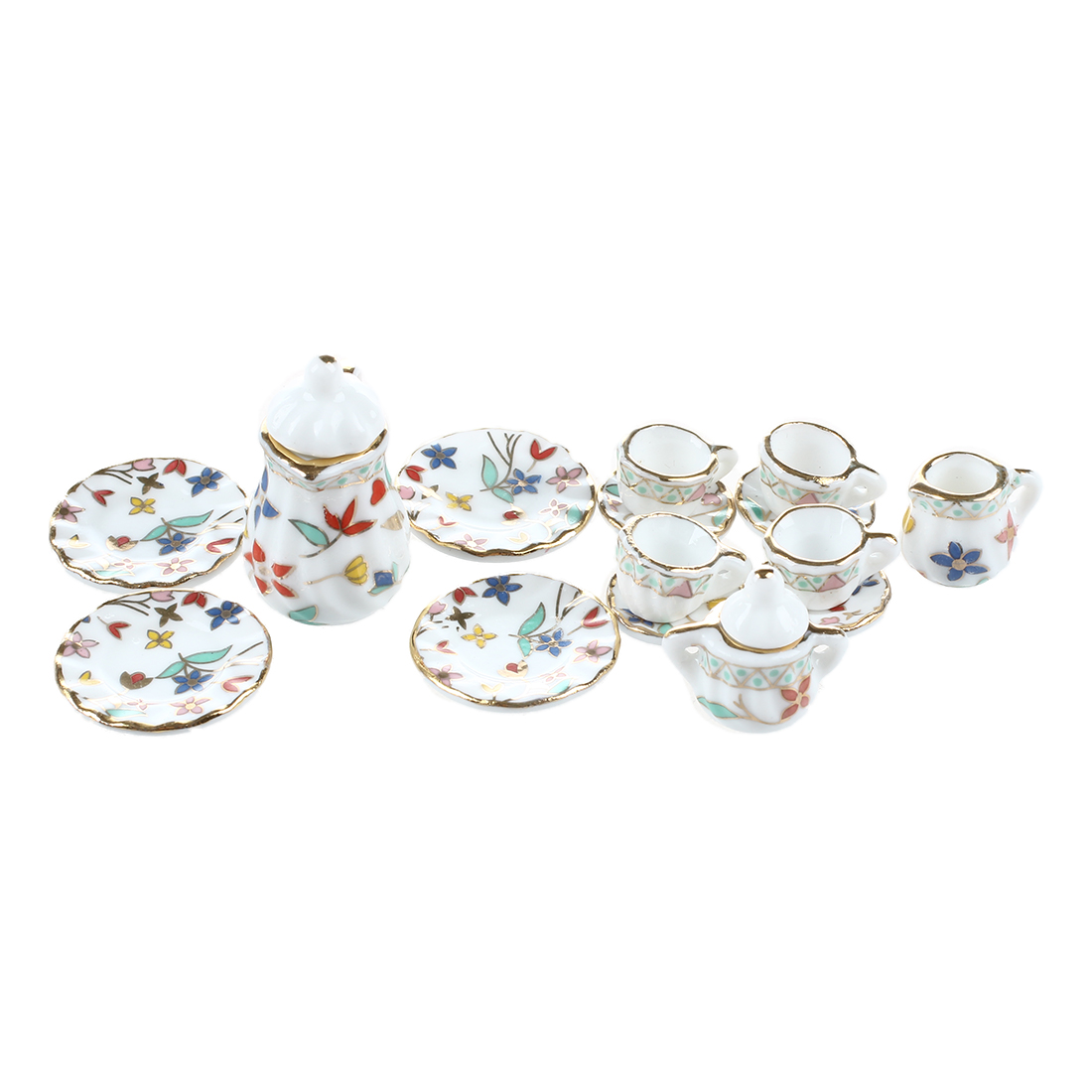 ABWE 15 Piece Miniature Dollhouse Dinnerware Porcelain Tea Set Tableware Cup Plate Colorful Floral Print