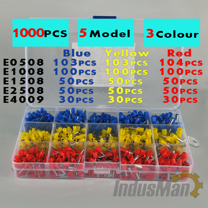1000 Stks partij Schoenveter Cooper Adereindhulzen Kit Set Wire Copper Crimp Connector Geïsoleerde Cord Pin End Terminal
