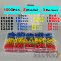1000 unids/lote Bootlace cooper Ferrules kit set cable cobre engarce conector aislado cable Pin Terminal