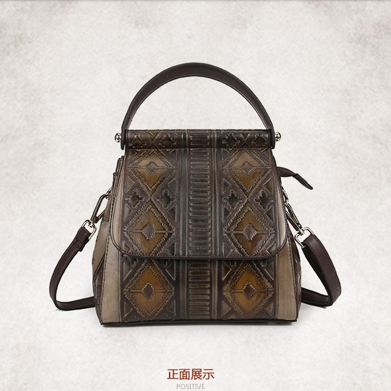 Famous Brand New Retro Women Backpack Luxury Genuine Leather Bag Female Vintage Designer School Bags for Teenage Girl luxury fashion retro pu leather famous brand women backpack american style ladies dark green bag college student school bags