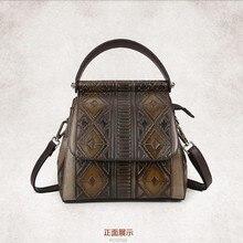 Известный Фирменная Новинка Ретро Женщины Рюкзак Роскошная натуральная кожа сумка женские винтажные дизайнерские школьные сумки для девочки-подростка