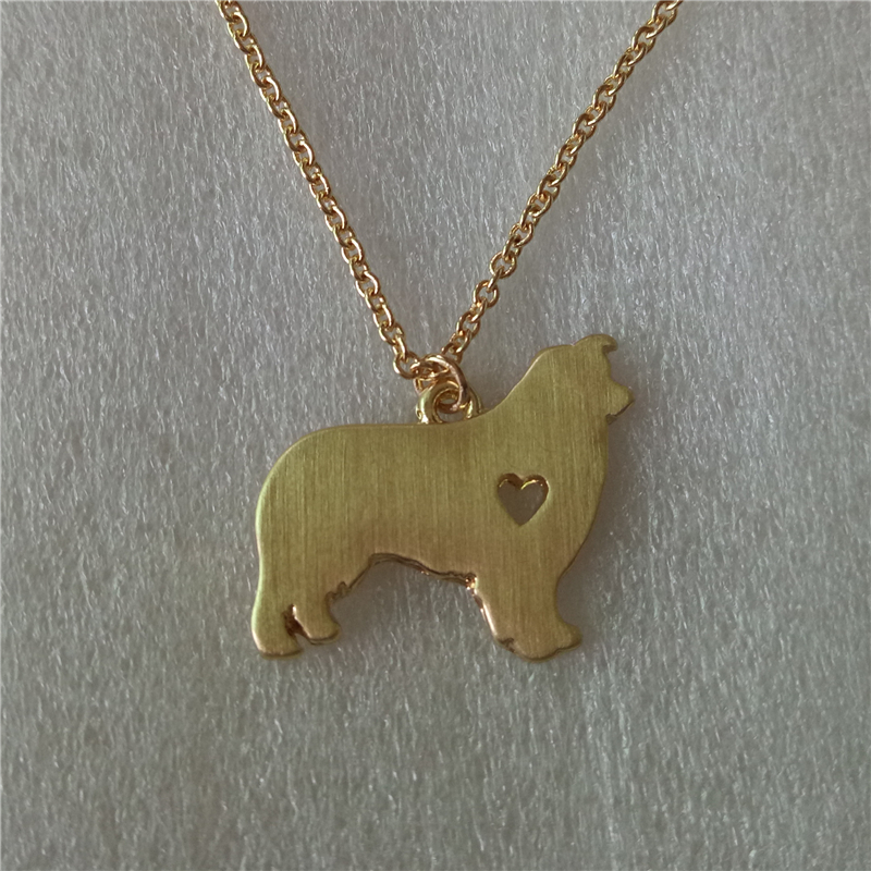 D011_Fashion Dog Paw Print Animal Pendant Australian Shepherd Necklace Dog Groomer Pendant Puppy Heart Lover Memorial Pet