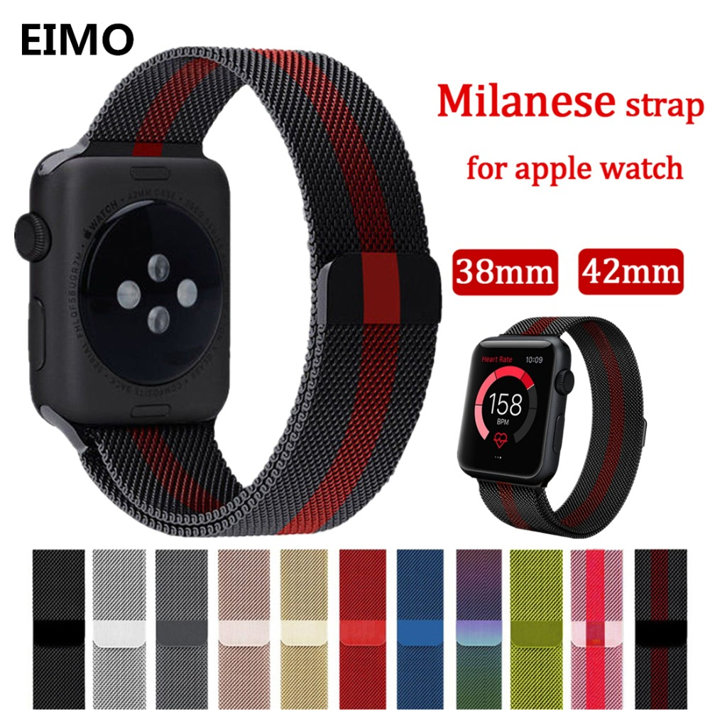 Milanese loop For Apple watch band strap series 3/2/1 iwatch band 42mm 38mm Stainless Steel metal Bracelet wrist belt watchband noto hot sale 38mm 42mm metal watchband for apple watch awmlmcs stainless steel magnetic closure milanese loop for apple watch