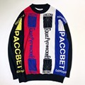 2017ss new Gosha Rubchinskiy letters four color stitch sweater for women men hip hop o-neck plaid sweaters pullover Gosha Palace