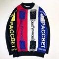 2017ss nueva Gosha Rubchinskiy cartas de cuatro colores puntada suéter para las mujeres de los hombres de hip hop suéteres o-cuello de la tela escocesa pullover Gosha Palacio
