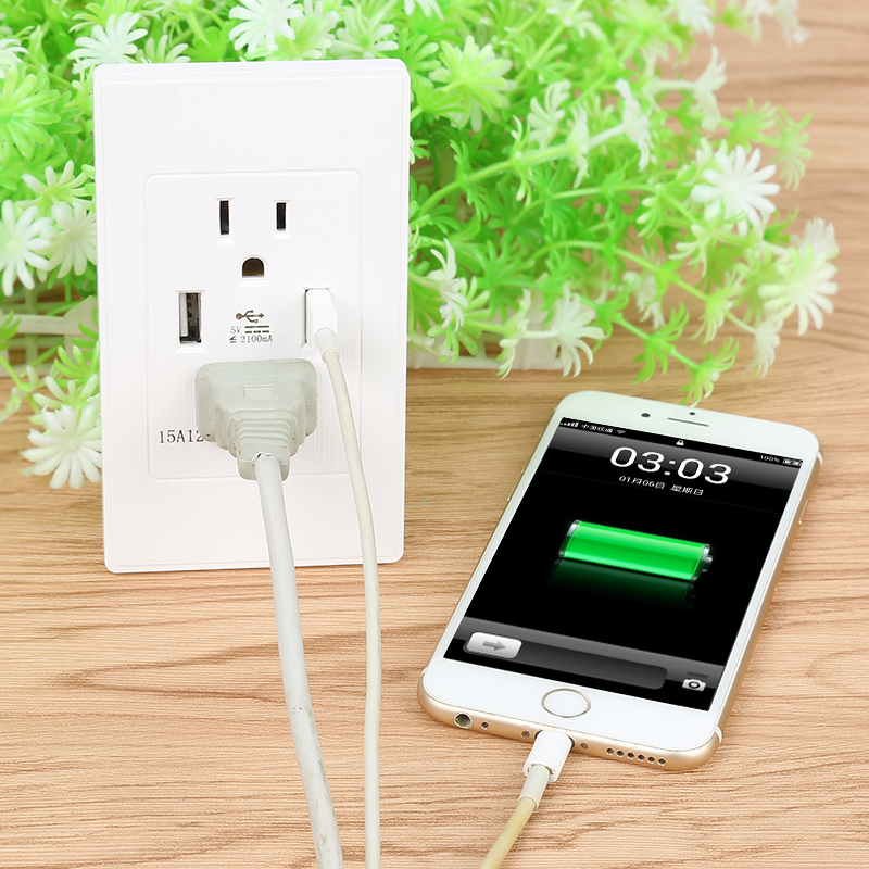 Hot Sale Dual USB Wall Charging Station Socket Adapter USB port US Standard Power Outlet 6 port usb charging station ac power adapter
