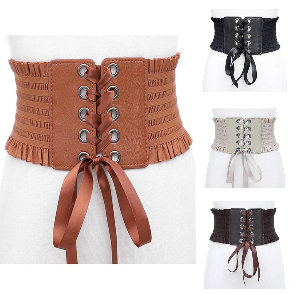 Fashion Women Vintage Stretch Tassels Elastic Buckle Wide  Dress Waistband Ladies Solid Color England Style Adjustable Belt
