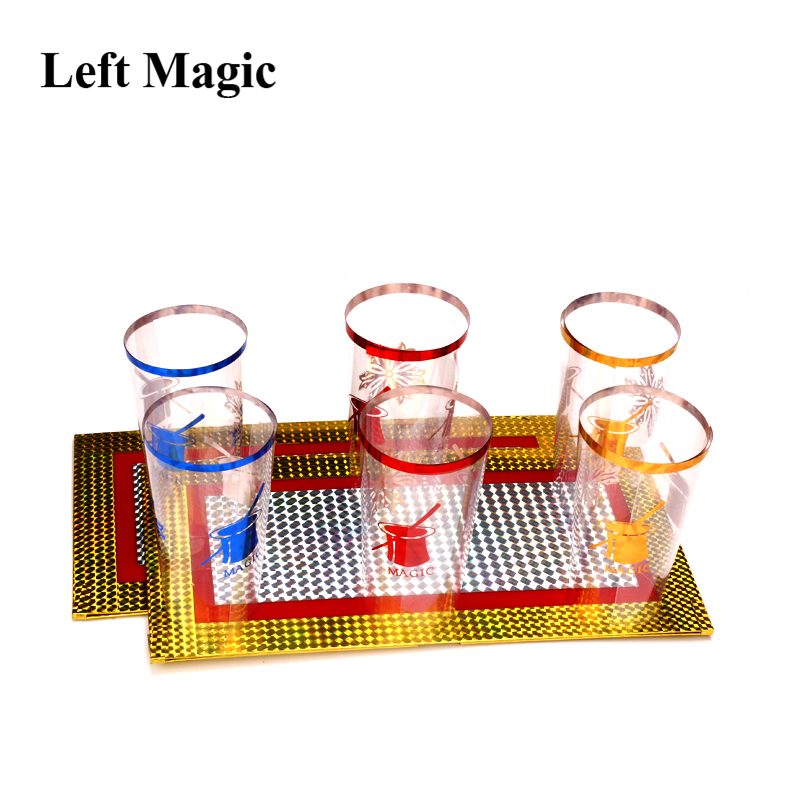 Six Cups Out From Two Plates Magic Trick Cups Appearing Stage Magic Props  Board Illusions Gimmick Accessory Funny