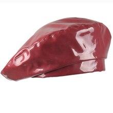 HT2516 Women Berets Fashion PU Leather Hat Ladies Retro Artist Painter for Female Solid Vintage Beret