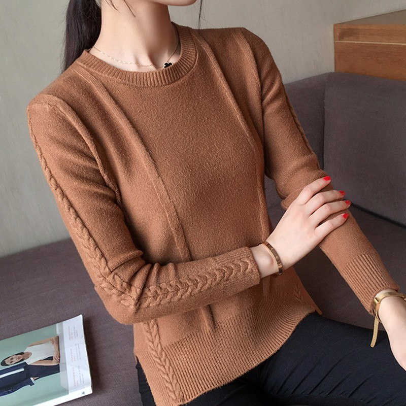 PEONFLY 2018 Autumn Wnter Sweater Women Long Sleeve Split Pullovers Female Crochet Jumper Pull Femme White Black Pink ...