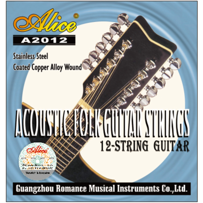 1 Set Original Alice 12 String Acoustic Guitar Strings Stainless Steel Coated Copper Alloy Wound A2012 3 sets alice aw466 light acoustic guitar strings plated high carbon steel