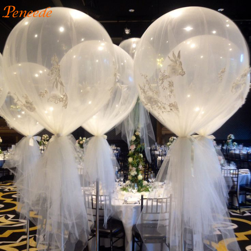 10pcs 36u0027u0027 Jumbo Large Round Latex Balloons Transparent Clear Giant Wedding  Balloons For Table Part 50