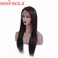 Miss Rola Hair Remy Human Hair with For 180% Density Straight Brazilian Nature Color Can Do Other Style 13*4 Human Hair Lace Wig