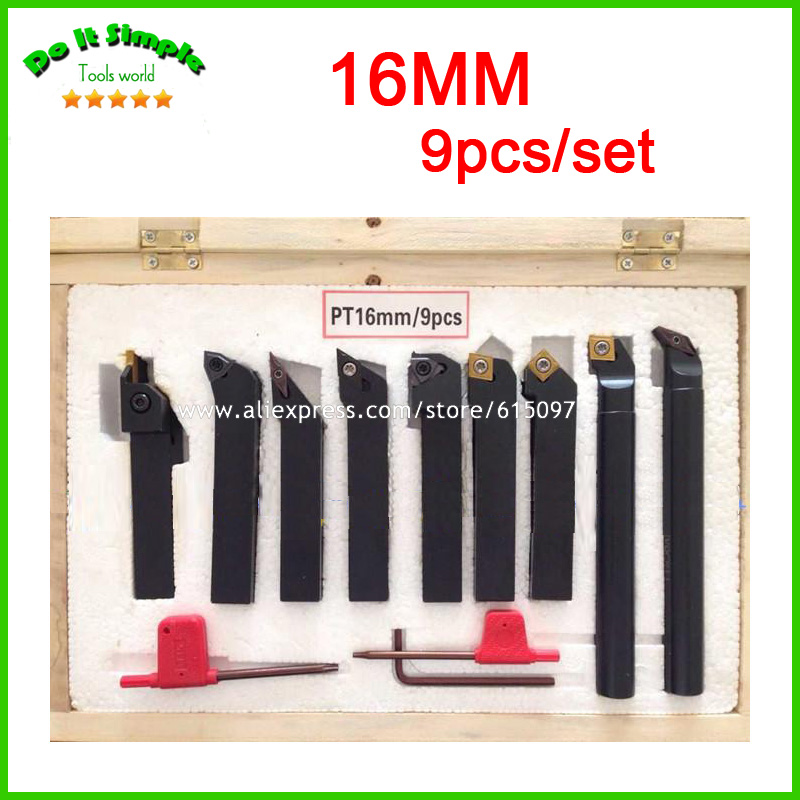 9pcs/set 16mm Hard Alloy Blade with Coating Turning Tool, CNC Lathe Tool Kits Cutter , Durable Cutting Tools 2mm wide blade cutter rod 12mm outer diameter cutting arbor external grooving lathe tool holder width grooving parting cutting