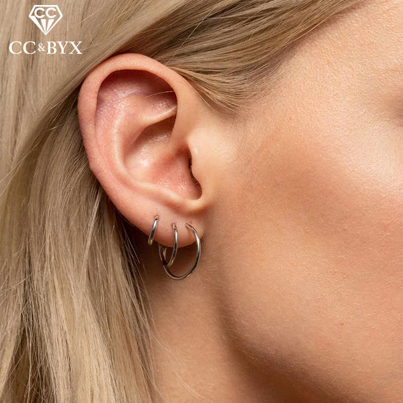 CC Stainless Steel Hoop Earrings For Women Punk Rock Trendy Jewelry Round Minimalist Statement Earring Party Accessories CDER007