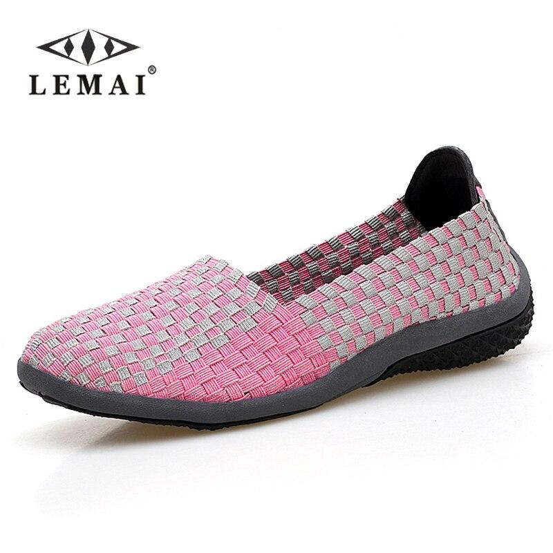 Lemai 2017 mujeres sandalias planas zapatos de las mujeres tejen los zapatos pis
