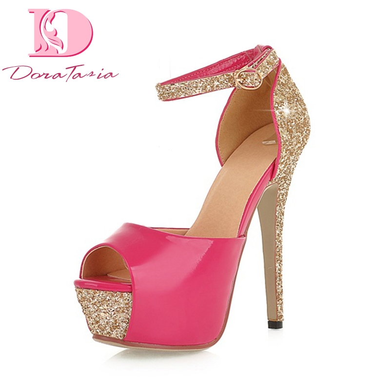 DoraTasia 2018 top quality large size 32 43 bling summer sandal shoes women sexy party wedding