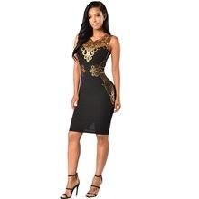 a0eeb885edbf Elegant Sequined Dresses Party Black Gold Sleeveless Bodycon Dress Summer  Night Club Sexy Midi Dresses Vestido De Festa C2733