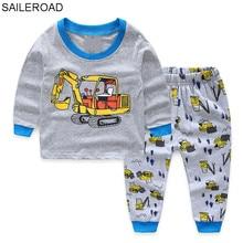 Купить с кэшбэком SAILEROAD Children Autumn Pajamas Clothing Set Boys Girls Cartoon Excavator Sleepwear Suit Kids Long-Sleeved+Pant Baby Clothes